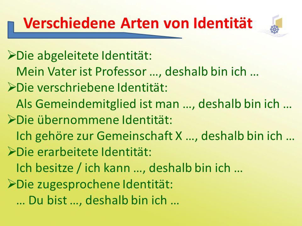 Verschiedene Arten von Identität  Die abgeleitete Identität: Mein Vater ist Professor …, deshalb bin ich …  Die verschriebene Identität: Als Gemeind