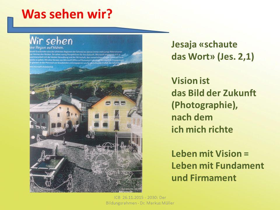 Was sehen wir? Jesaja «schaute das Wort» (Jes. 2,1) Vision ist das Bild der Zukunft (Photographie), nach dem ich mich richte Leben mit Vision = Leben