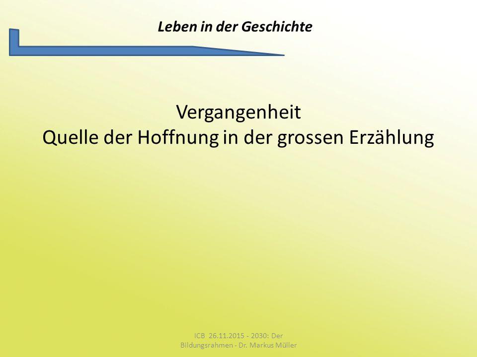 Leben in der Geschichte Vergangenheit Quelle der Hoffnung in der grossen Erzählung ICB 26.11.2015 - 2030: Der Bildungsrahmen - Dr. Markus Müller