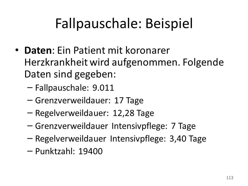 Fallpauschale: Beispiel Daten: Ein Patient mit koronarer Herzkrankheit wird aufgenommen. Folgende Daten sind gegeben: – Fallpauschale: 9.011 – Grenzve
