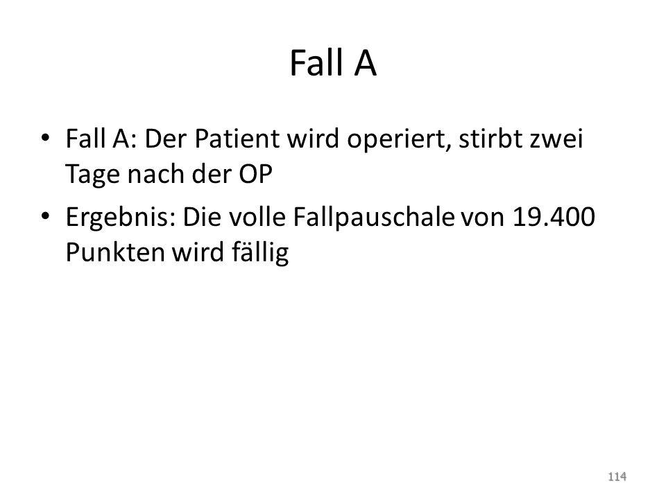 Fall A Fall A: Der Patient wird operiert, stirbt zwei Tage nach der OP Ergebnis: Die volle Fallpauschale von 19.400 Punkten wird fällig 114
