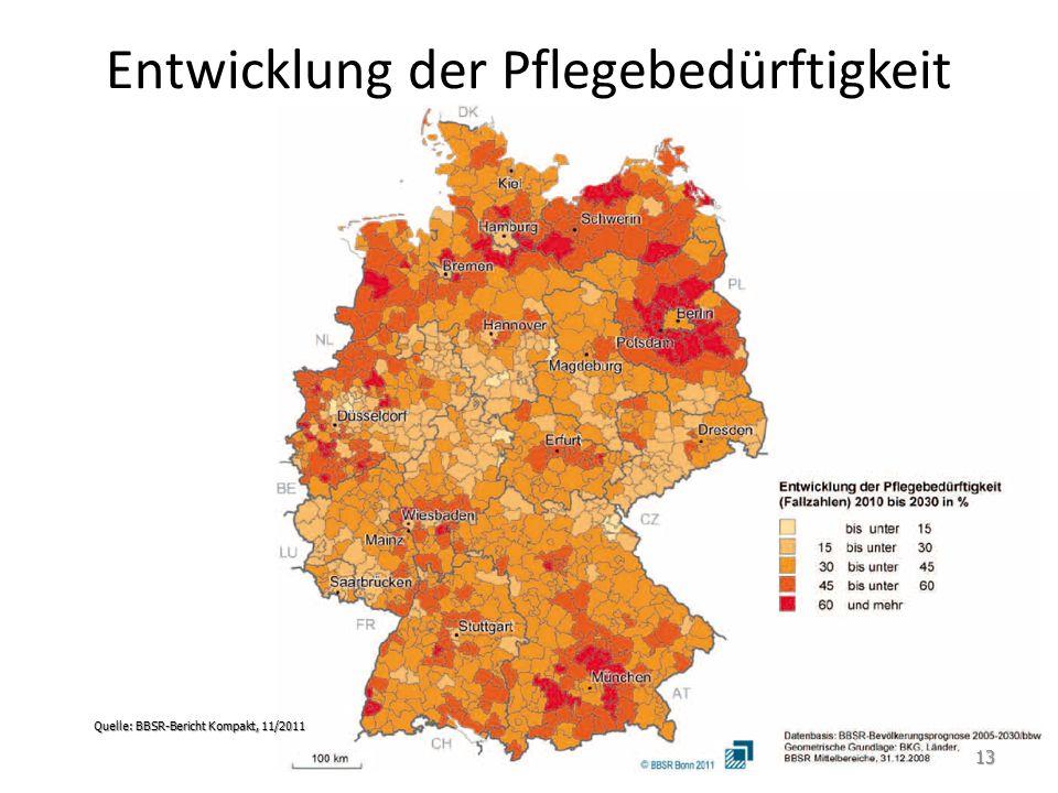 Entwicklung der Pflegebedürftigkeit Quelle: BBSR-Bericht Kompakt, 11/2011 13