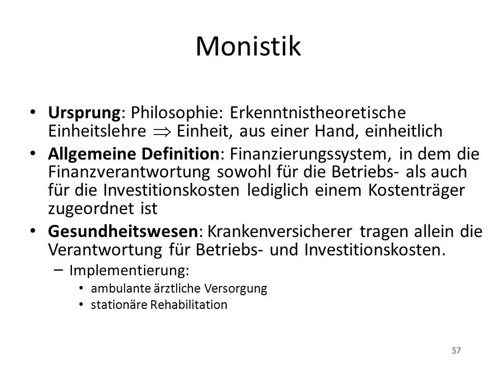 Monistik Ursprung: Philosophie: Erkenntnistheoretische Einheitslehre  Einheit, aus einer Hand, einheitlich Allgemeine Definition: Finanzierungssystem