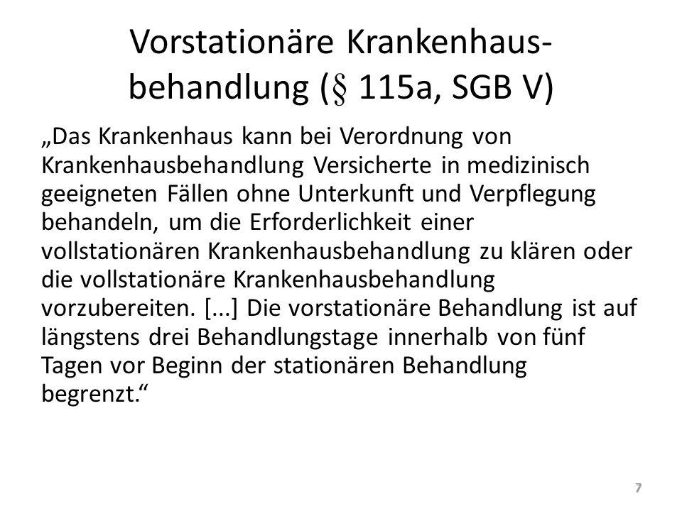 """Vorstationäre Krankenhaus- behandlung (§ 115a, SGB V) """"Das Krankenhaus kann bei Verordnung von Krankenhausbehandlung Versicherte in medizinisch geeign"""