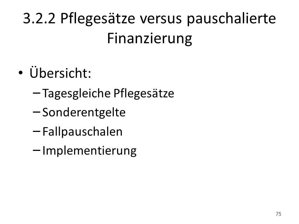 3.2.2 Pflegesätze versus pauschalierte Finanzierung Übersicht: – Tagesgleiche Pflegesätze – Sonderentgelte – Fallpauschalen – Implementierung 75