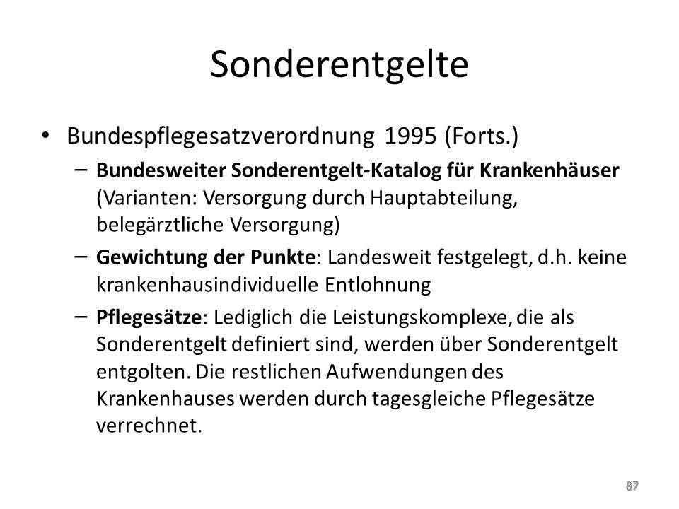 Sonderentgelte Bundespflegesatzverordnung 1995 (Forts.) – Bundesweiter Sonderentgelt-Katalog für Krankenhäuser (Varianten: Versorgung durch Hauptabtei