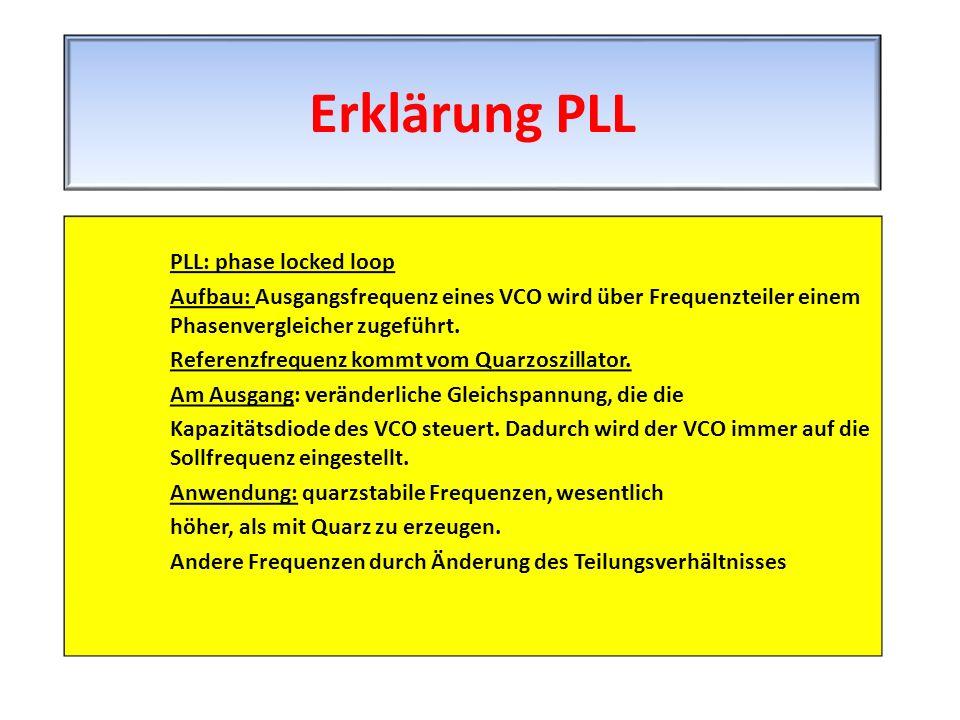 PLL: phase locked loop Aufbau: Ausgangsfrequenz eines VCO wird über Frequenzteiler einem Phasenvergleicher zugeführt. Referenzfrequenz kommt vom Quarz
