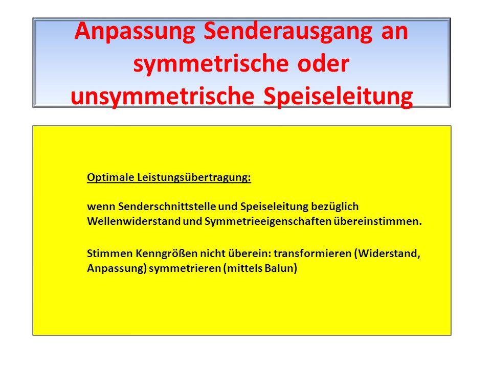 Optimale Leistungsübertragung: wenn Senderschnittstelle und Speiseleitung bezüglich Wellenwiderstand und Symmetrieeigenschaften übereinstimmen. Stimme