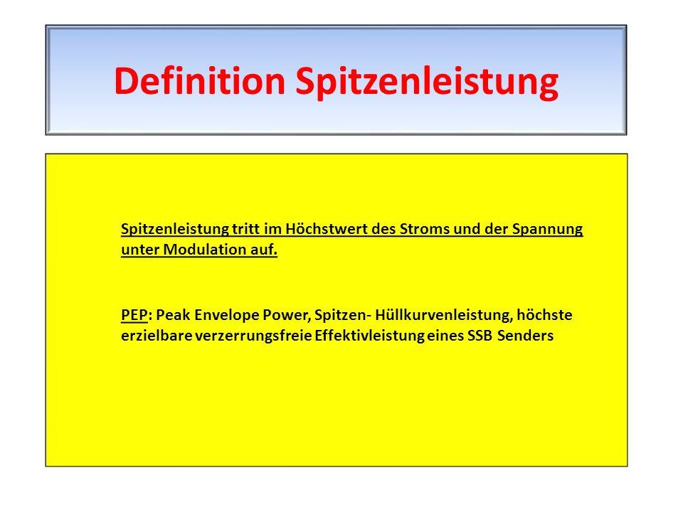 Spitzenleistung tritt im Höchstwert des Stroms und der Spannung unter Modulation auf. PEP: Peak Envelope Power, Spitzen- Hüllkurvenleistung, höchste e