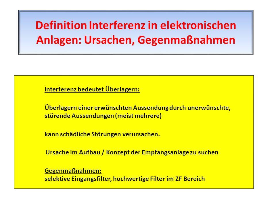 Interferenz bedeutet Überlagern: Überlagern einer erwünschten Aussendung durch unerwünschte, störende Aussendungen (meist mehrere) kann schädliche Stö