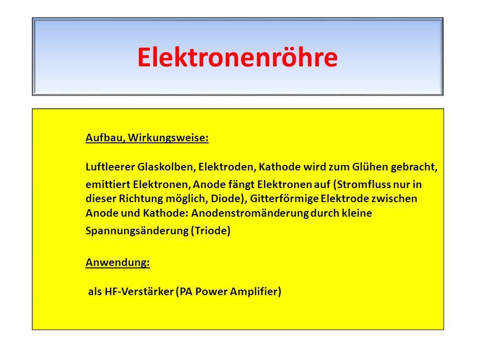 Aufbau, Wirkungsweise: Luftleerer Glaskolben, Elektroden, Kathode wird zum Glühen gebracht, emittiert Elektronen, Anode fängt Elektronen auf (Stromflu