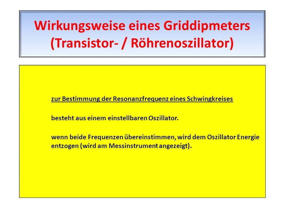 zur Bestimmung der Resonanzfrequenz eines Schwingkreises besteht aus einem einstellbaren Oszillator. wenn beide Frequenzen übereinstimmen, wird dem Os