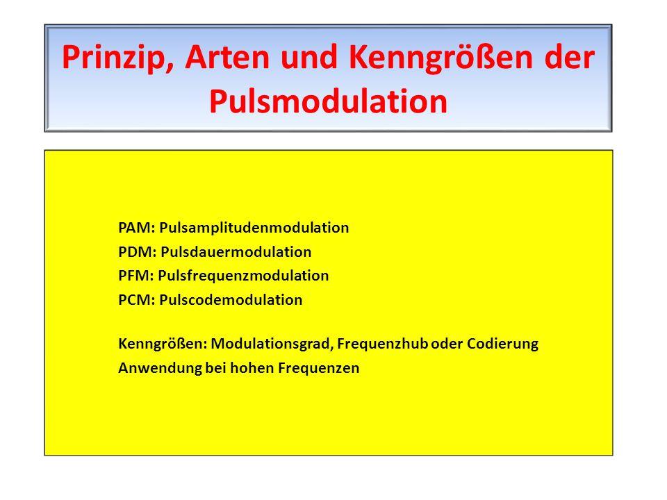 PAM: Pulsamplitudenmodulation PDM: Pulsdauermodulation PFM: Pulsfrequenzmodulation PCM: Pulscodemodulation Kenngrößen: Modulationsgrad, Frequenzhub od