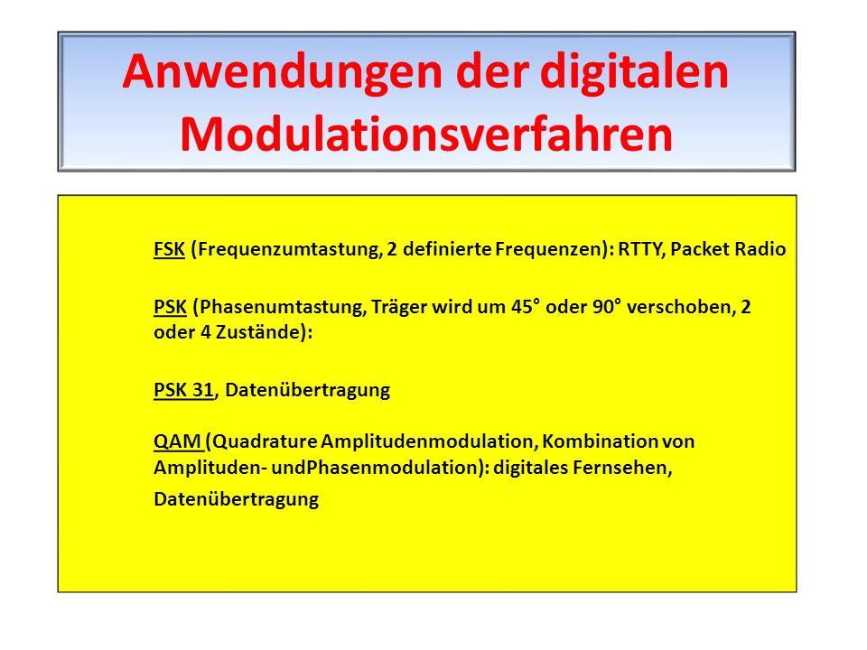 FSK (Frequenzumtastung, 2 definierte Frequenzen): RTTY, Packet Radio PSK (Phasenumtastung, Träger wird um 45° oder 90° verschoben, 2 oder 4 Zustände):