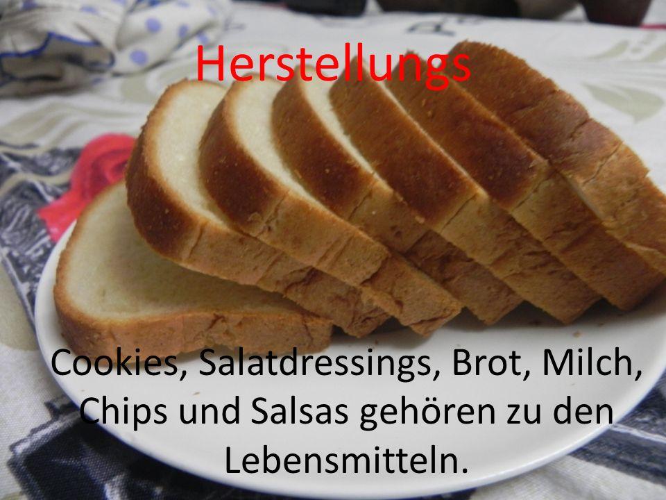 Herstellungs Cookies, Salatdressings, Brot, Milch, Chips und Salsas gehören zu den Lebensmitteln.