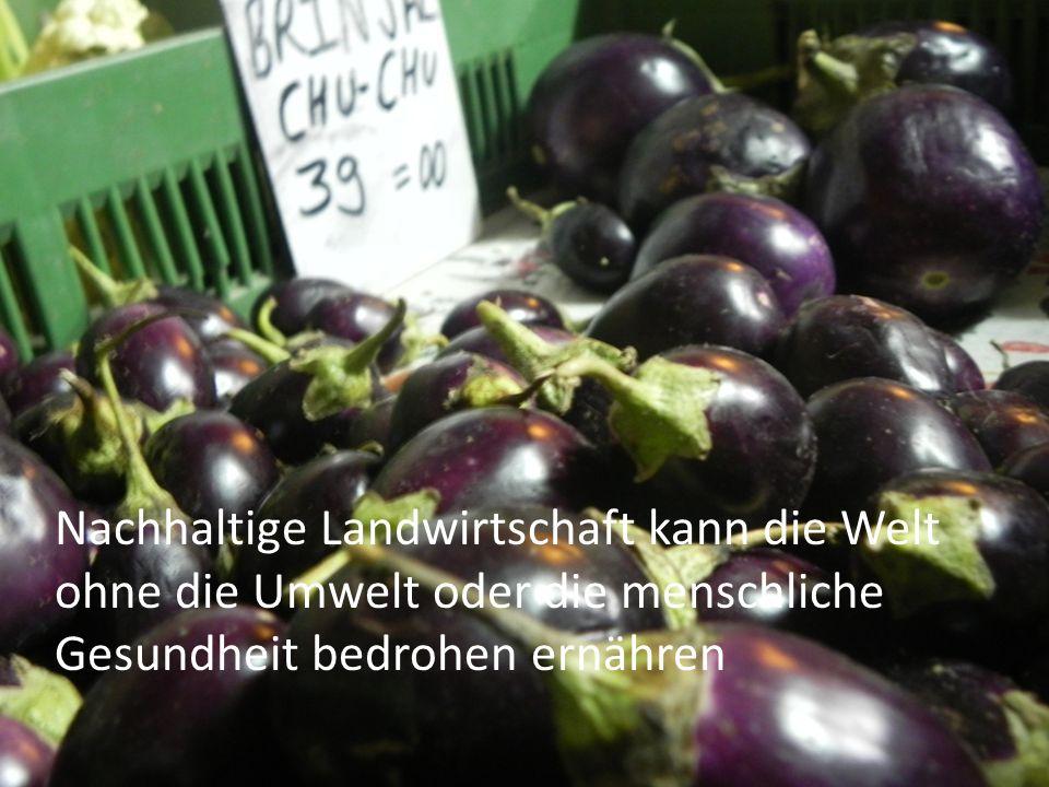 Nachhaltige Landwirtschaft kann die Welt ohne die Umwelt oder die menschliche Gesundheit bedrohen ernähren