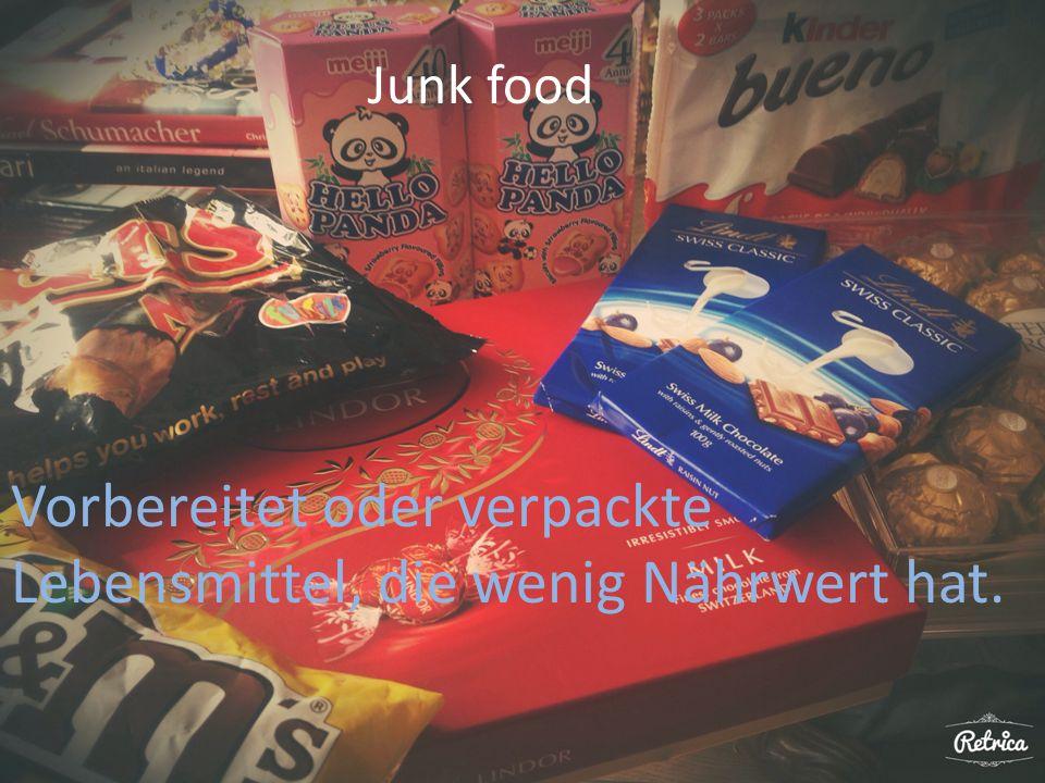 Junk food Vorbereitet oder verpackte Lebensmittel, die wenig Nährwert hat.