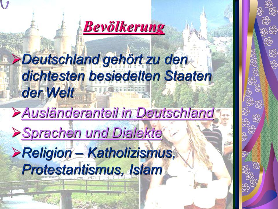 Bevölkerung  Deutschland gehört zu den dichtesten besiedelten Staaten der Welt  Ausländeranteil in Deutschland Ausländeranteil in Deutschland Auslän