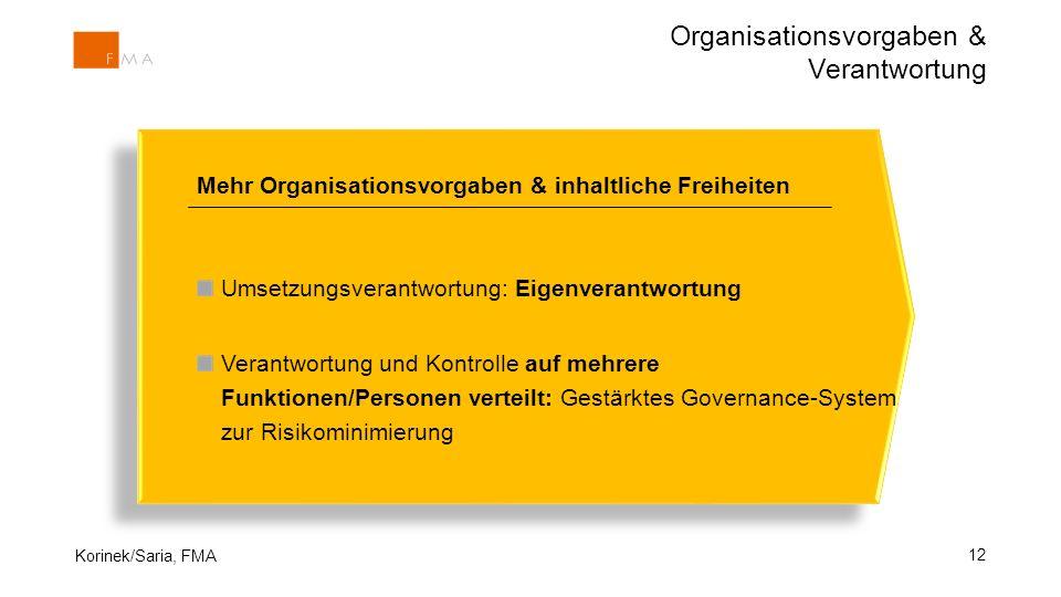 12 Mehr Organisationsvorgaben & inhaltliche Freiheiten Umsetzungsverantwortung: Eigenverantwortung Verantwortung und Kontrolle auf mehrere Funktionen/