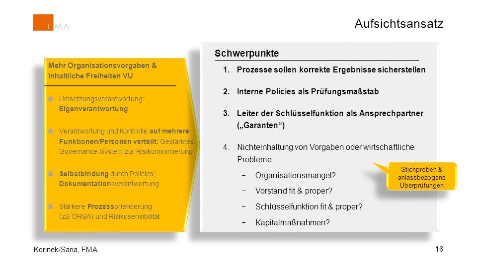 16 Mehr Organisationsvorgaben & inhaltliche Freiheiten VU Umsetzungsverantwortung: Eigenverantwortung Verantwortung und Kontrolle auf mehrere Funktion