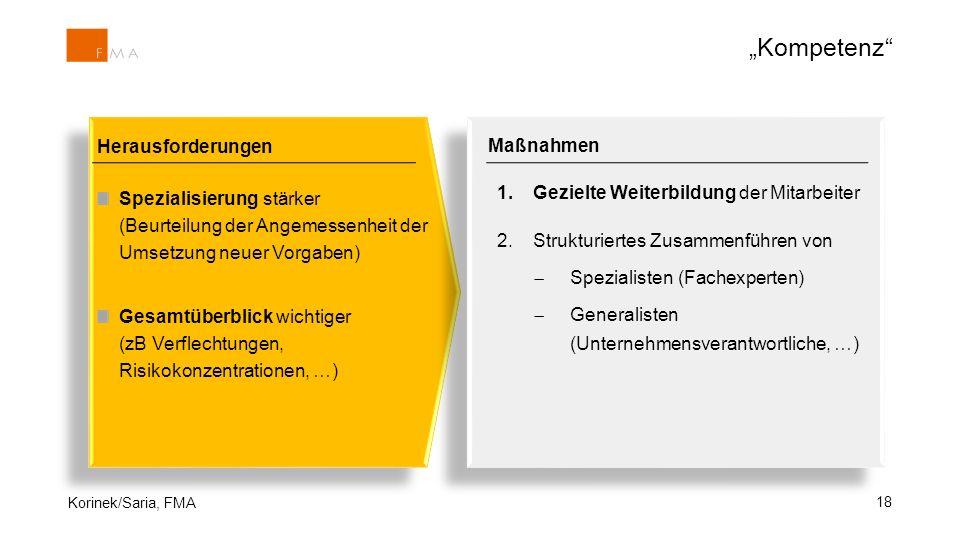 18 Herausforderungen Spezialisierung stärker (Beurteilung der Angemessenheit der Umsetzung neuer Vorgaben) Gesamtüberblick wichtiger (zB Verflechtunge
