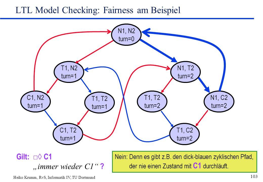 "Heiko Krumm, RvS, Informatik IV, TU Dortmund 103 LTL Model Checking: Fairness am Beispiel N1, N2 turn=0 T1, N2 turn=1 C1, T2 turn=1 T1, T2 turn=1 C1, N2 turn=1 N1, T2 turn=2 T1, C2 turn=2 T1, T2 turn=2 N1, C2 turn=2 Gilt: □◊ C1 ""immer wieder C1 ."