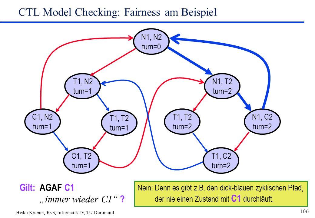 "Heiko Krumm, RvS, Informatik IV, TU Dortmund 106 CTL Model Checking: Fairness am Beispiel N1, N2 turn=0 T1, N2 turn=1 C1, T2 turn=1 T1, T2 turn=1 C1, N2 turn=1 N1, T2 turn=2 T1, C2 turn=2 T1, T2 turn=2 N1, C2 turn=2 Gilt:AGAF C1 ""immer wieder C1 ."