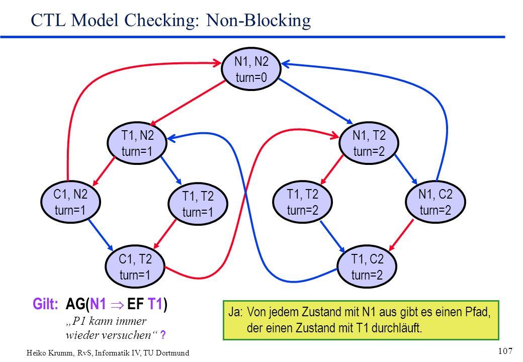"Heiko Krumm, RvS, Informatik IV, TU Dortmund 107 CTL Model Checking: Non-Blocking N1, N2 turn=0 T1, N2 turn=1 C1, T2 turn=1 T1, T2 turn=1 C1, N2 turn=1 N1, T2 turn=2 T1, C2 turn=2 T1, T2 turn=2 N1, C2 turn=2 Gilt:AG(N1  EF T1) ""P1 kann immer wieder versuchen ."