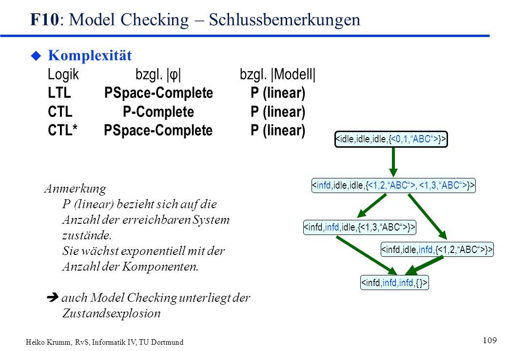 Heiko Krumm, RvS, Informatik IV, TU Dortmund 109 F10: Model Checking – Schlussbemerkungen  Komplexität Logikbzgl. |φ|bzgl. |Modell| LTLPSpace-Complet