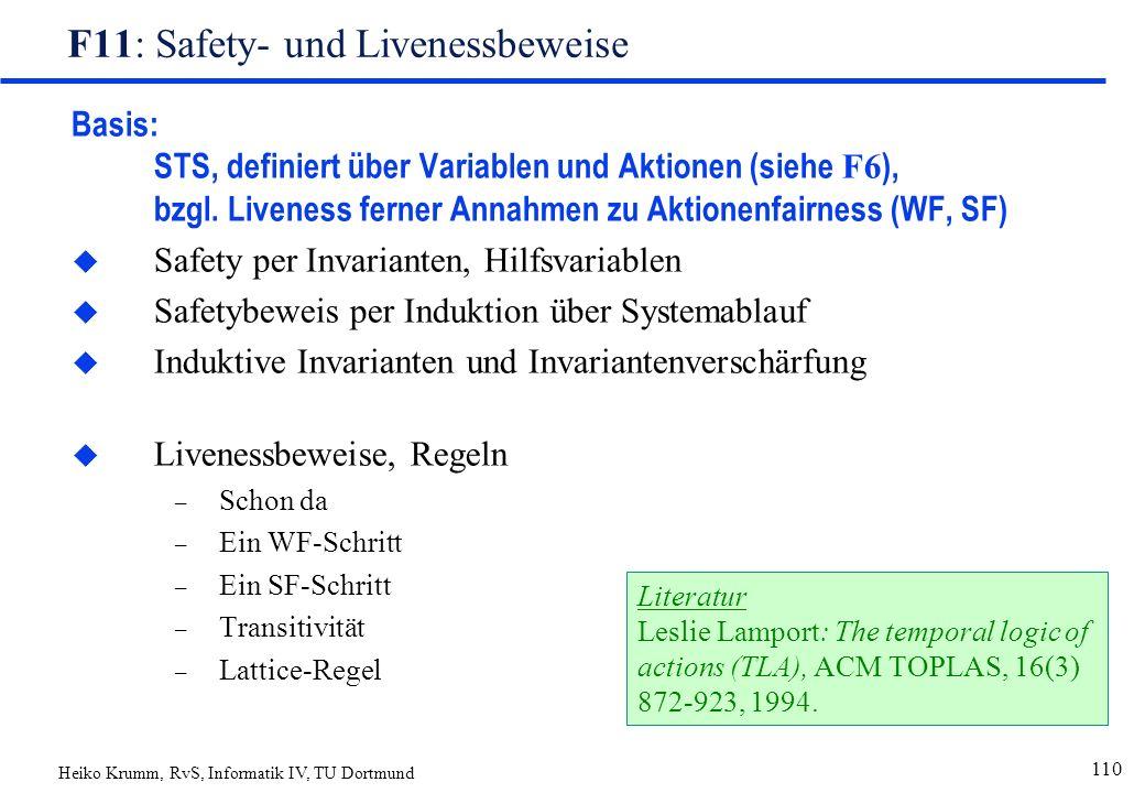 Heiko Krumm, RvS, Informatik IV, TU Dortmund 110 F11: Safety- und Livenessbeweise Basis: STS, definiert über Variablen und Aktionen (siehe F6 ), bzgl.