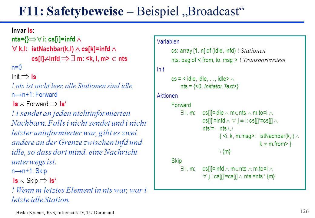 """Heiko Krumm, RvS, Informatik IV, TU Dortmund 126 F11: Safetybeweise – Beispiel """"Broadcast Variablen cs: array [1..n] of (idle, infd) ."""