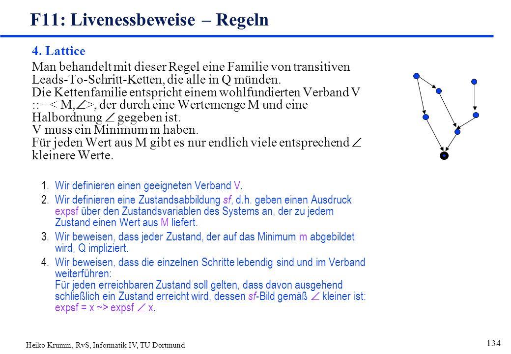 Heiko Krumm, RvS, Informatik IV, TU Dortmund 134 F11: Livenessbeweise – Regeln 4.