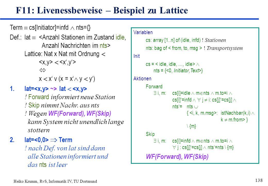 Heiko Krumm, RvS, Informatik IV, TU Dortmund 138 F11: Livenessbeweise – Beispiel zu Lattice Term  cs[Initiator]=infd  nts={} Def.:lat  Lattice:Nat x Nat mit Ordnung    x  x' v (x = x'  y  y') 1.lat= ~>lat  .
