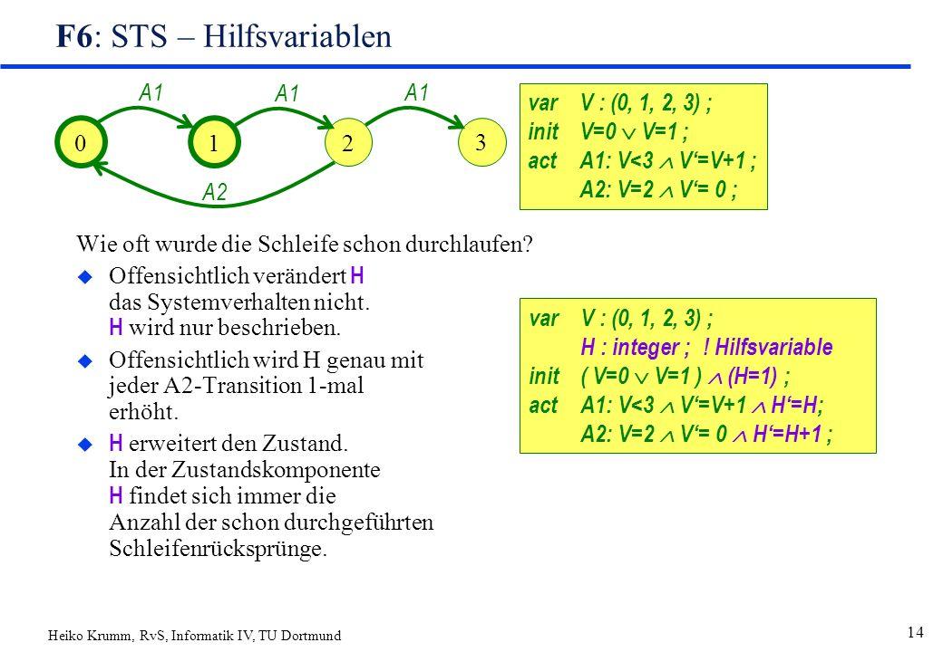Heiko Krumm, RvS, Informatik IV, TU Dortmund 14 F6: STS – Hilfsvariablen Wie oft wurde die Schleife schon durchlaufen.