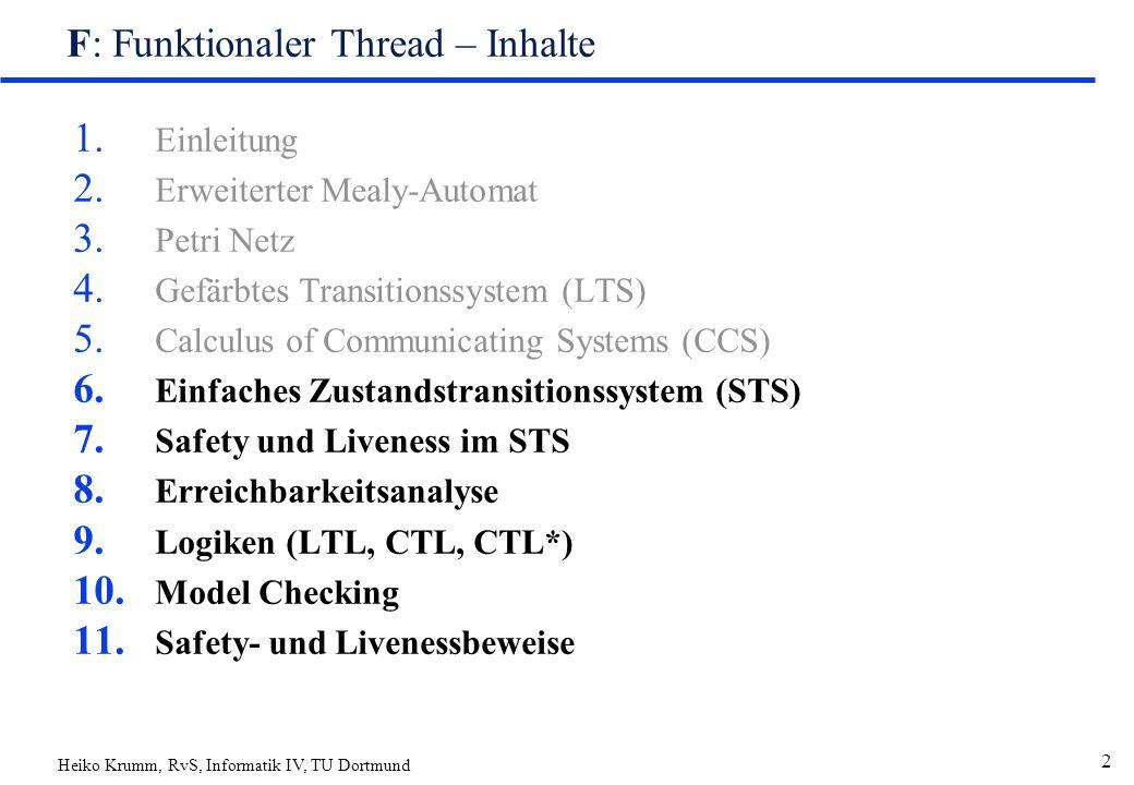 Heiko Krumm, RvS, Informatik IV, TU Dortmund 2 F: Funktionaler Thread – Inhalte 1.