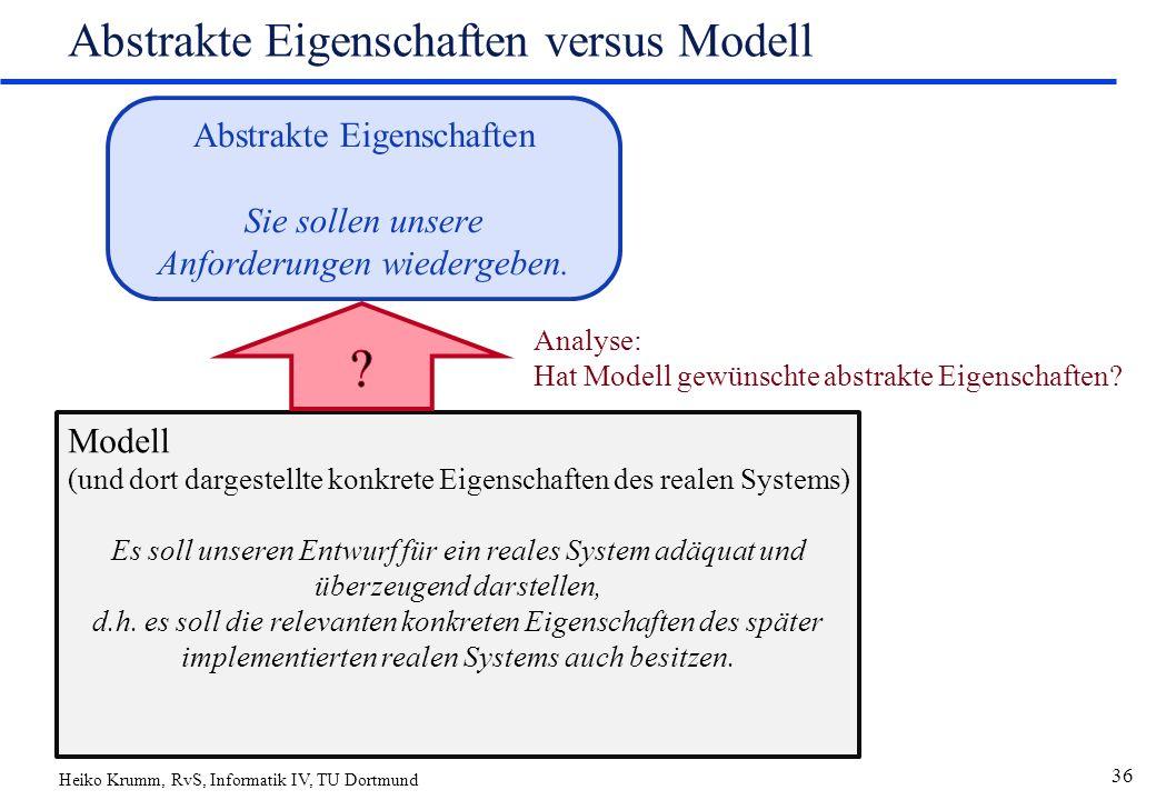 Heiko Krumm, RvS, Informatik IV, TU Dortmund 36 Abstrakte Eigenschaften versus Modell Abstrakte Eigenschaften Sie sollen unsere Anforderungen wiedergeben.