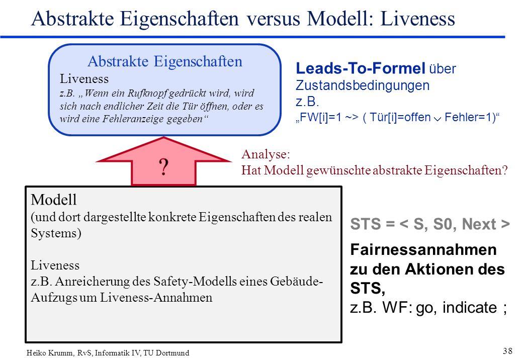 Heiko Krumm, RvS, Informatik IV, TU Dortmund 38 Abstrakte Eigenschaften versus Modell: Liveness Abstrakte Eigenschaften Liveness z.B.
