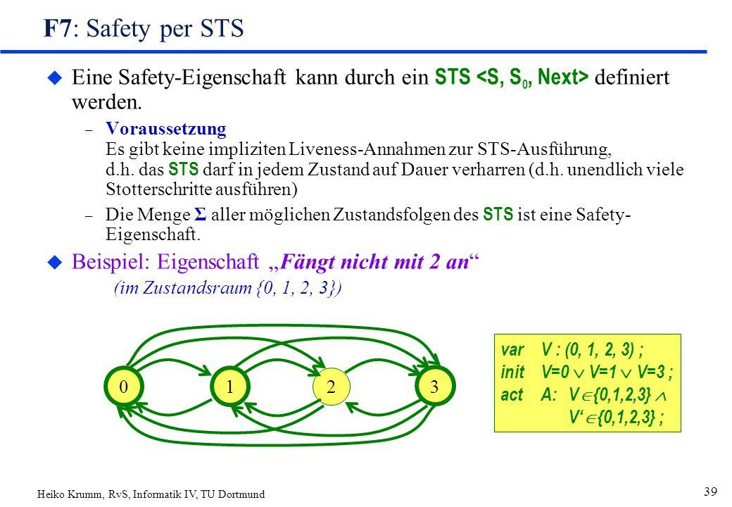 Heiko Krumm, RvS, Informatik IV, TU Dortmund 39 F7: Safety per STS  Eine Safety-Eigenschaft kann durch ein STS definiert werden.