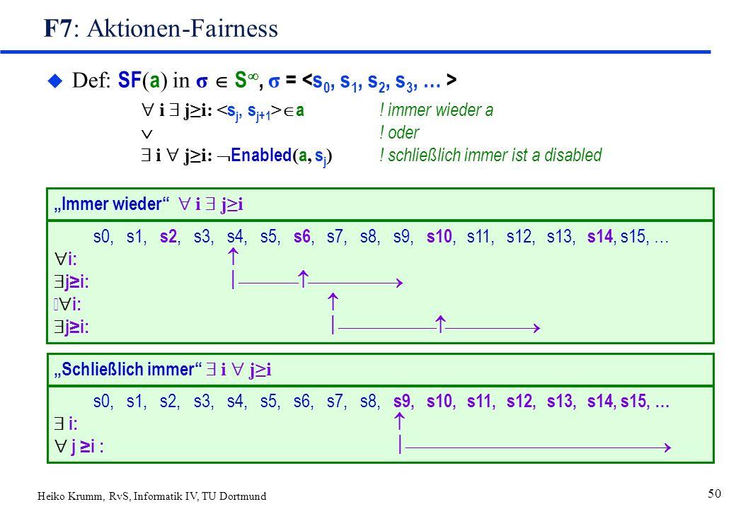 Heiko Krumm, RvS, Informatik IV, TU Dortmund 50 F7: Aktionen-Fairness  Def: SF ( a ) in σ  S , σ =  i  j≥i:  a ! immer wieder a  ! oder  i  j