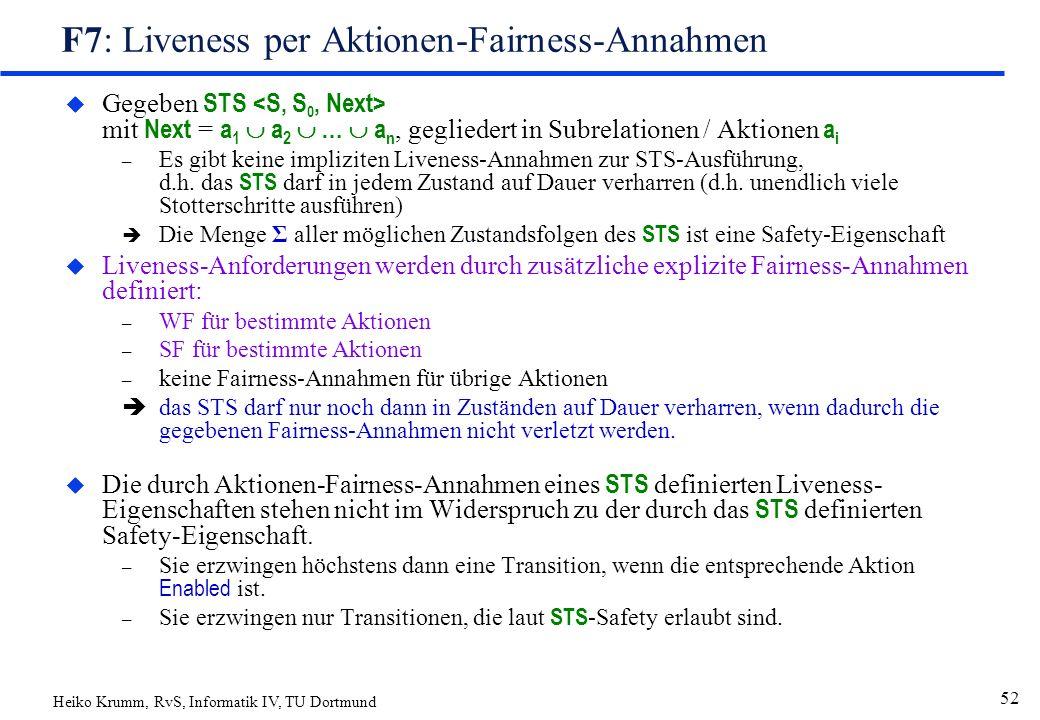 Heiko Krumm, RvS, Informatik IV, TU Dortmund 52 F7: Liveness per Aktionen-Fairness-Annahmen  Gegeben STS mit Next = a 1  a 2  …  a n, gegliedert in Subrelationen / Aktionen a i – Es gibt keine impliziten Liveness-Annahmen zur STS-Ausführung, d.h.