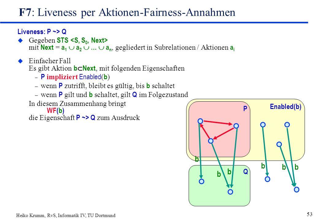Heiko Krumm, RvS, Informatik IV, TU Dortmund 53 F7: Liveness per Aktionen-Fairness-Annahmen Liveness: P ~> Q  Gegeben STS mit Next = a 1  a 2  …  a n, gegliedert in Subrelationen / Aktionen a i  Einfacher Fall Es gibt Aktion b  Next, mit folgenden Eigenschaften – P impliziert Enabled ( b ) – wenn P zutrifft, bleibt es gültig, bis b schaltet – wenn P gilt und b schaltet, gilt Q im Folgezustand In diesem Zusammenhang bringt WF(b) die Eigenschaft P ~> Q zum Ausdruck Enabled(b) P Q b b b bb b