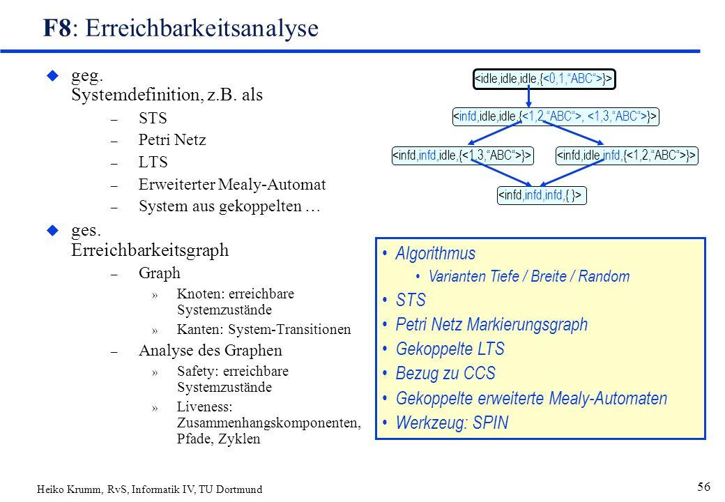 Heiko Krumm, RvS, Informatik IV, TU Dortmund 56 F8: Erreichbarkeitsanalyse u geg.