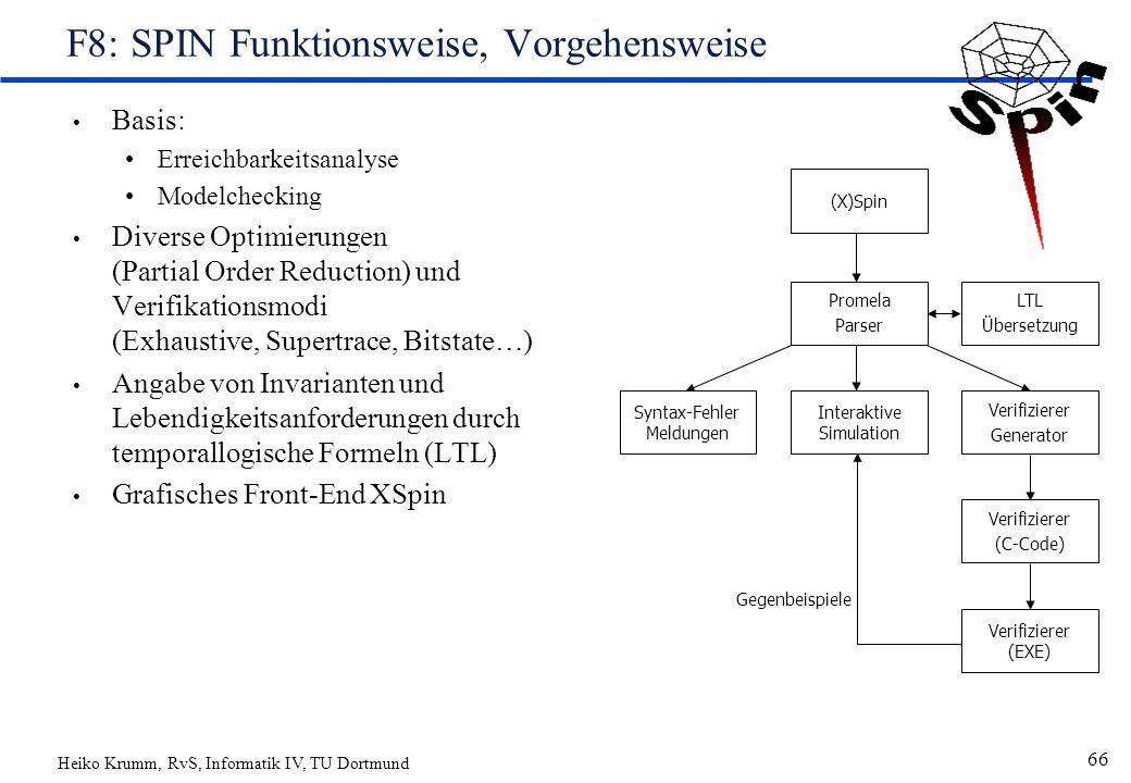 Heiko Krumm, RvS, Informatik IV, TU Dortmund 66 F8: SPIN Funktionsweise, Vorgehensweise Basis: Erreichbarkeitsanalyse Modelchecking Diverse Optimierungen (Partial Order Reduction) und Verifikationsmodi (Exhaustive, Supertrace, Bitstate…) Angabe von Invarianten und Lebendigkeitsanforderungen durch temporallogische Formeln (LTL) Grafisches Front-End XSpin (X)Spin Interaktive Simulation Syntax-Fehler Meldungen Verifizierer Generator Verifizierer (C-Code) Verifizierer (EXE) LTL Übersetzung Promela Parser Gegenbeispiele