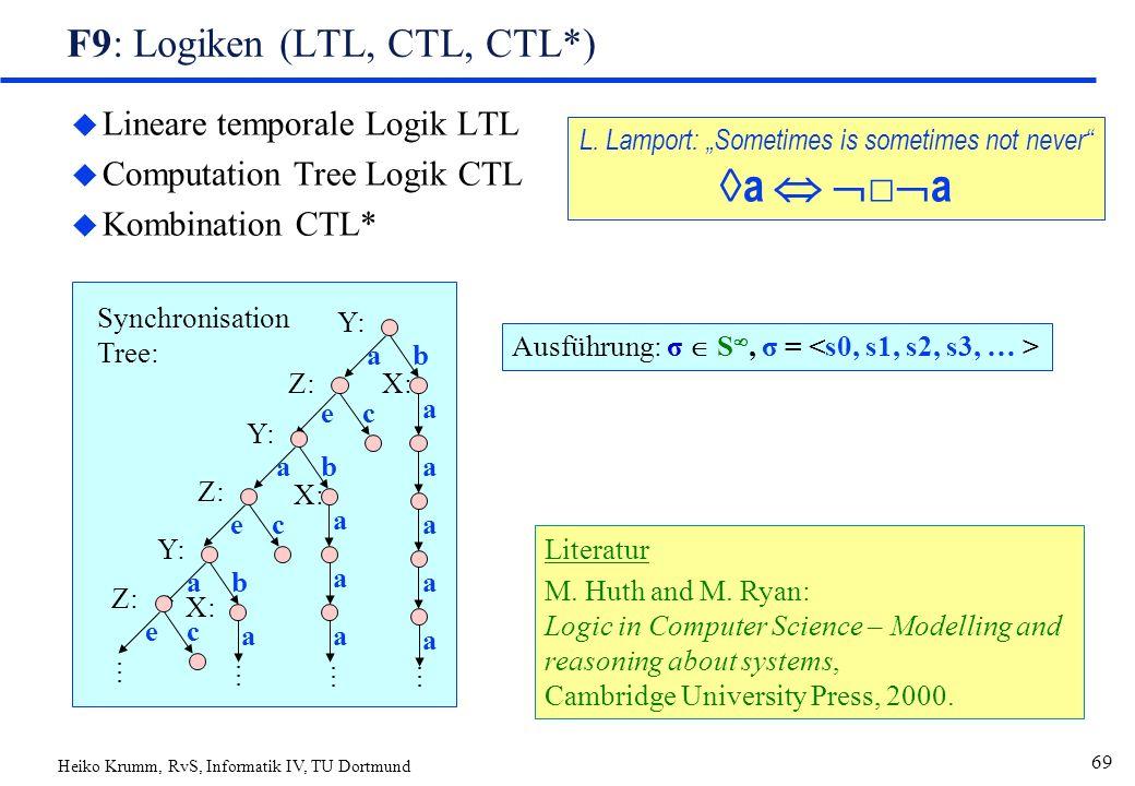 Heiko Krumm, RvS, Informatik IV, TU Dortmund 69 F9: Logiken (LTL, CTL, CTL*) u Lineare temporale Logik LTL u Computation Tree Logik CTL u Kombination CTL* Literatur M.