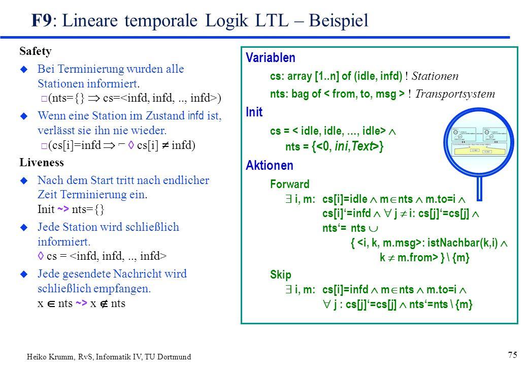 Heiko Krumm, RvS, Informatik IV, TU Dortmund 75 F9: Lineare temporale Logik LTL – Beispiel Safety u Bei Terminierung wurden alle Stationen informiert.