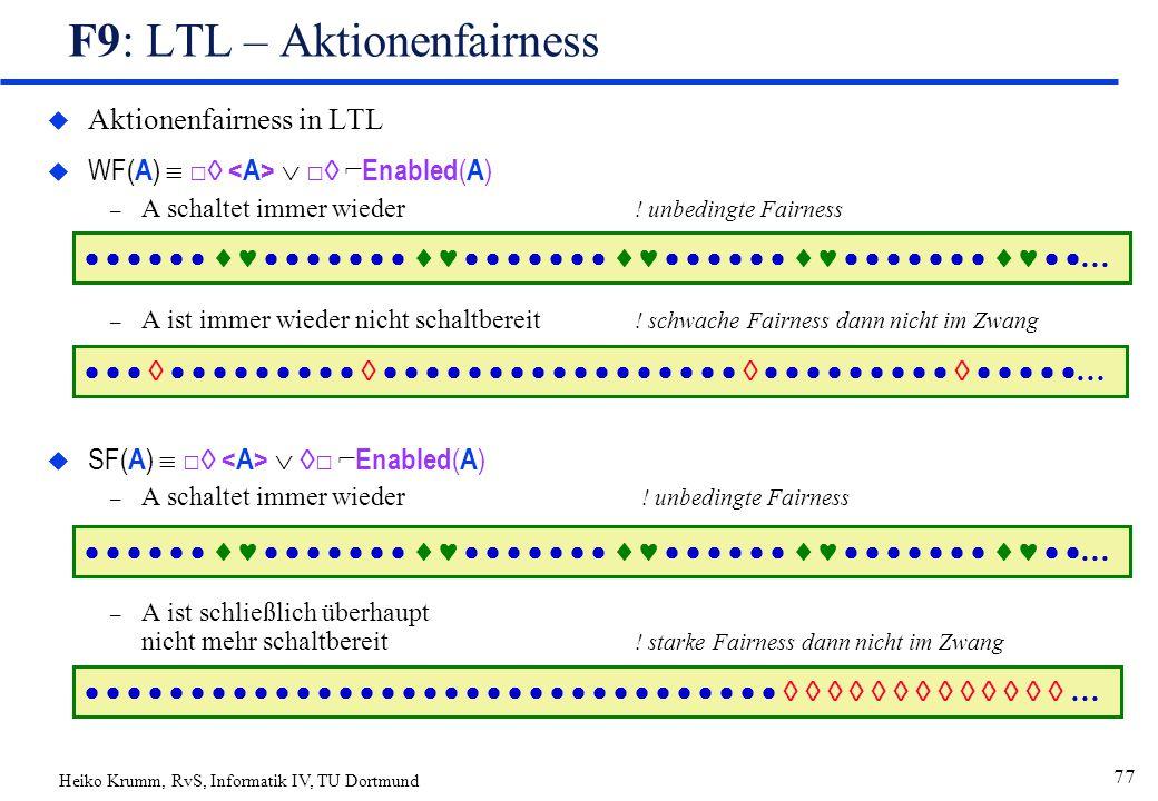 Heiko Krumm, RvS, Informatik IV, TU Dortmund 77 F9: LTL – Aktionenfairness u Aktionenfairness in LTL  WF( A )  □   □  ⌐ Enabled ( A ) – A schaltet immer wieder .