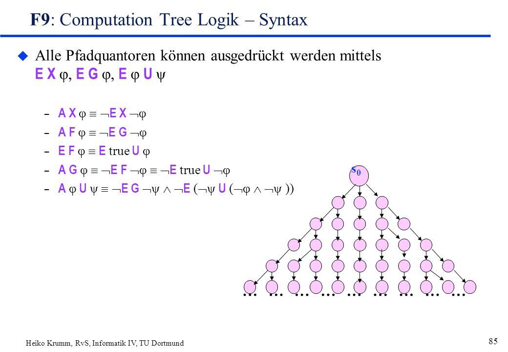 Heiko Krumm, RvS, Informatik IV, TU Dortmund 85 F9: Computation Tree Logik – Syntax  Alle Pfadquantoren können ausgedrückt werden mittels E X φ, E G φ, E φ U ψ – A X φ   E X  φ – A F φ   E G  φ – E F φ  E true U φ – A G φ   E F  φ   E true U  φ – A φ U ψ   E G  ψ   E (  ψ U (  φ   ψ )) ……………………… s0s0