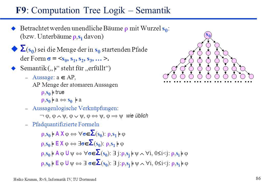 Heiko Krumm, RvS, Informatik IV, TU Dortmund 86 F9: Computation Tree Logik – Semantik u Betrachtet werden unendliche Bäume ρ mit Wurzel s 0 : (bzw.
