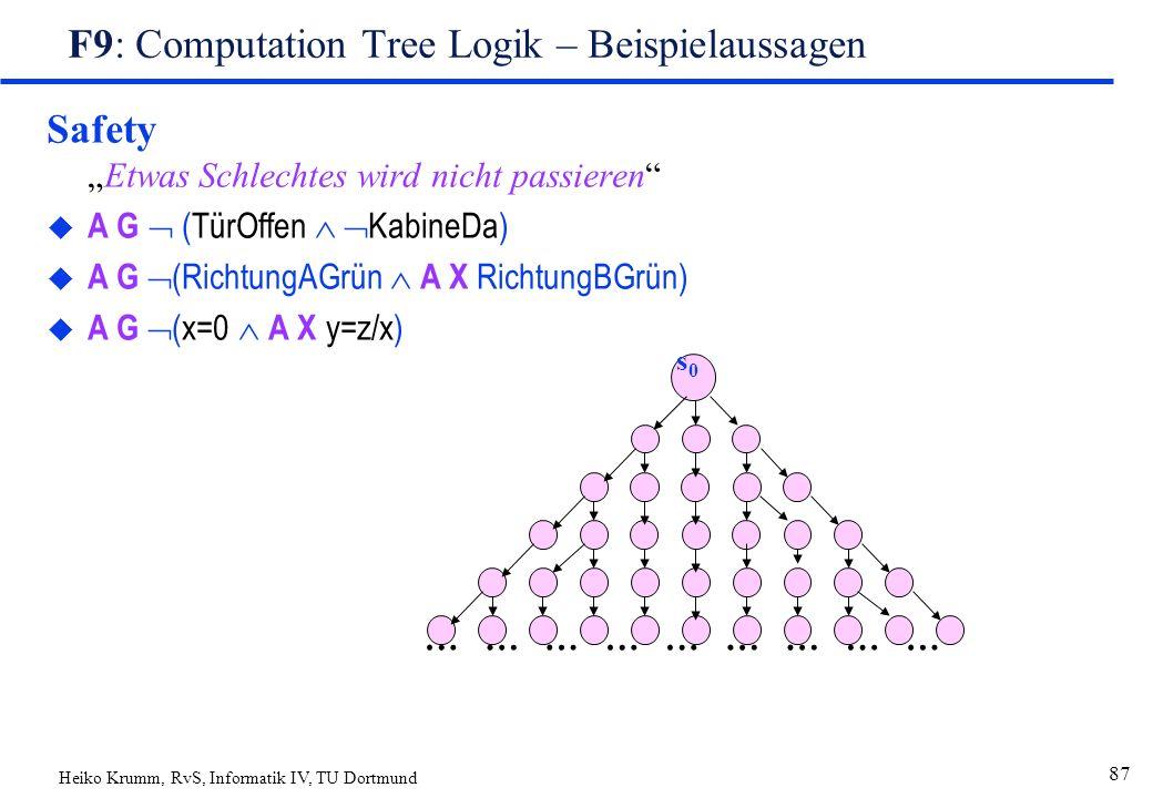 """Heiko Krumm, RvS, Informatik IV, TU Dortmund 87 F9: Computation Tree Logik – Beispielaussagen Safety """"Etwas Schlechtes wird nicht passieren  A G  (TürOffen   KabineDa)  A G  (RichtungAGrün  A X RichtungBGrün)  A G  (x=0  A X y=z/x) ……………………… s0s0"""