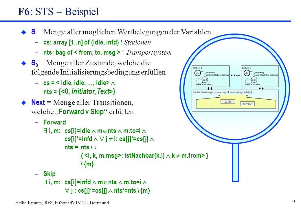 Heiko Krumm, RvS, Informatik IV, TU Dortmund 9 F6: STS – Beispiel  S = Menge aller möglichen Wertbelegungen der Variablen – cs: array [1..n] of (idle, infd) .